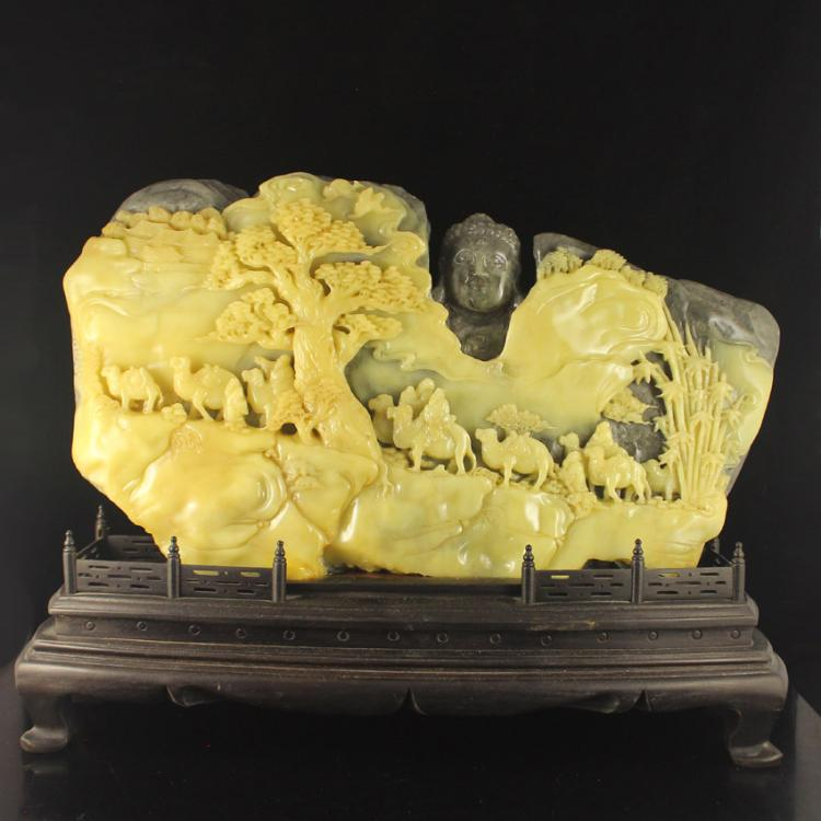 Chinese Natural Shoushan Stone Statue - The Silk Road Free Certificate