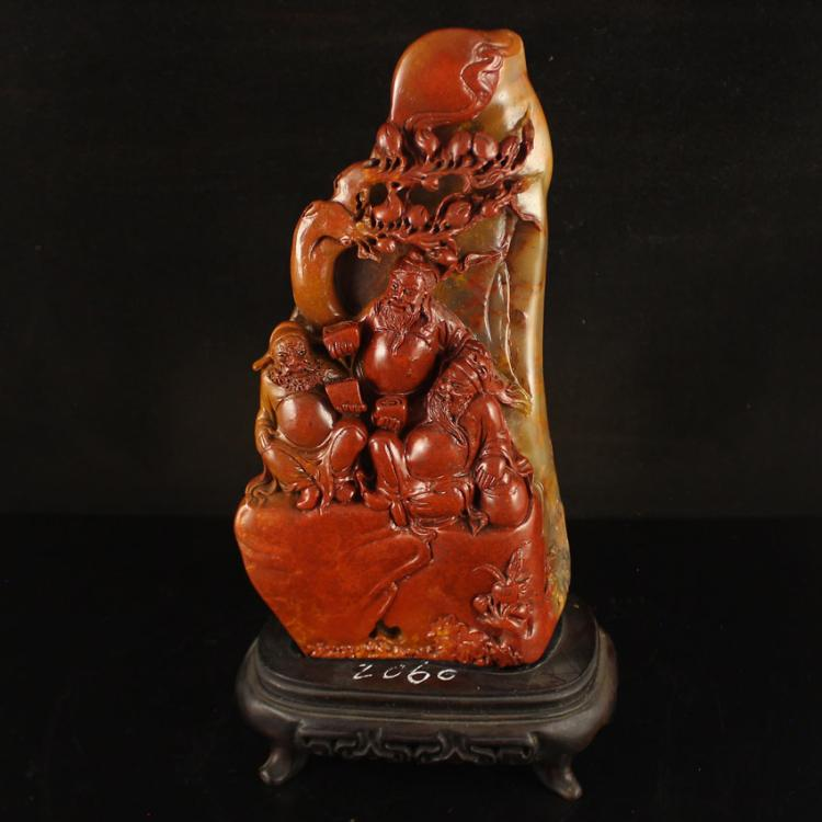 Chinese Shoushan Stone Statue - Sage Meeting & Certificate
