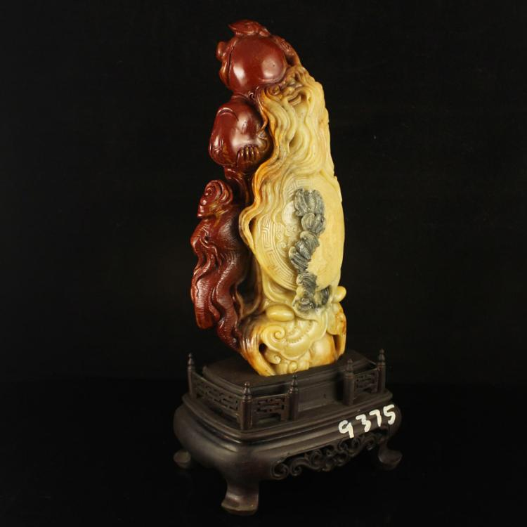 Superb Chinese Shoushan Stone Statue - Longevity Taoism Deity & Certificate