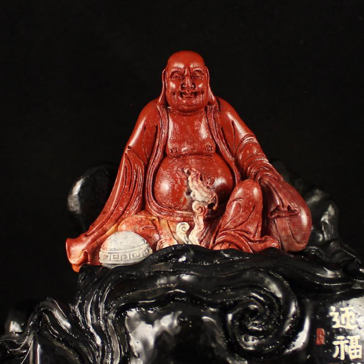 Chinese Natural Shoushan Stone Statue - Laughing Buddha Free Certificate