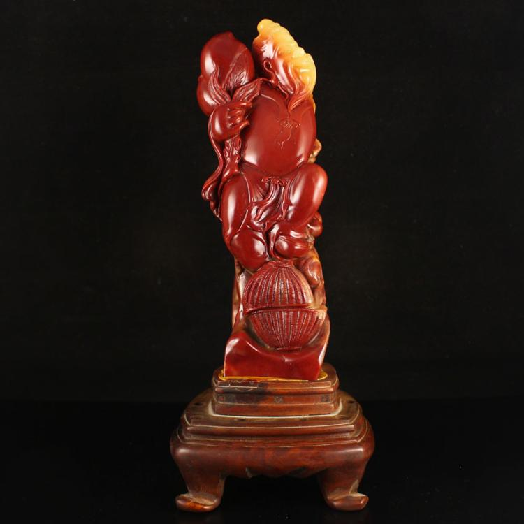 Chinese Shoushan Stone Statue - Long Life Old Man & Peach
