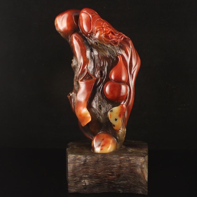 Chinese Shoushan Stone Statue - Longevity Taoism Deity Free Certificate