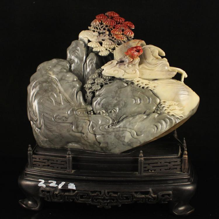 Chinese Natural Shoushan Stone Statue - Fisherman Free Certificate