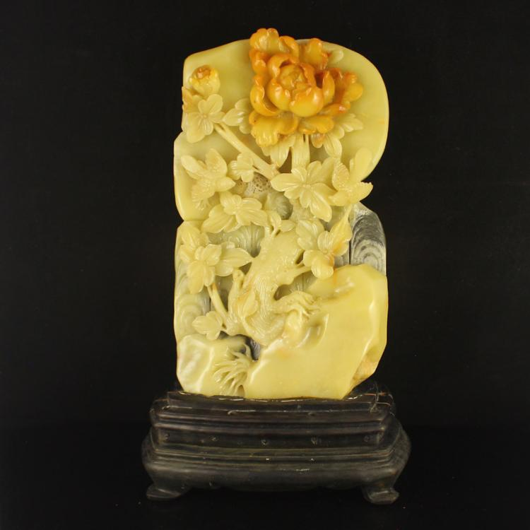 Chinese Natural Shoushan Stone Statue - Magpie & Peony Free Certificate