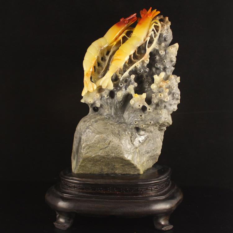 Chinese Natural Shoushan Stone Statue - Shrimps Free Certificate