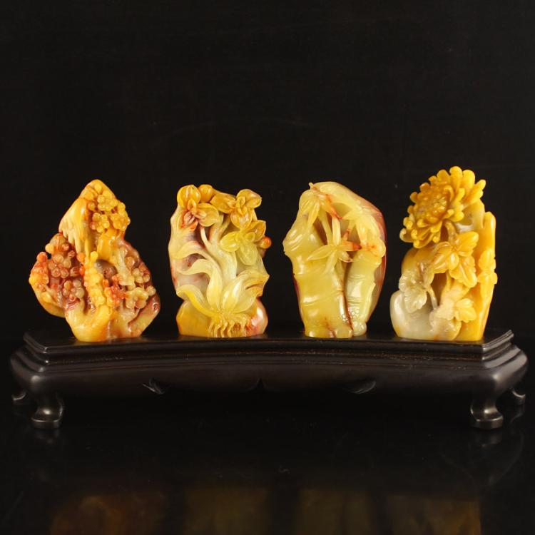 Superb A Set Chinese Natural Shoushan Stone Statue - Plum Flower , Orchid , Bamboo ,Chrysanthemum