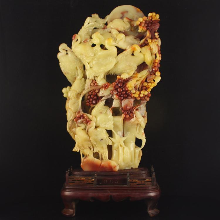 Chinese Natural Shoushan Stone Statue - Crane & Grapes Free Certificate