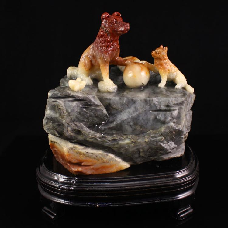 Chinese Natural Shoushan Stone Statue - Fortune Dog Free Certificate