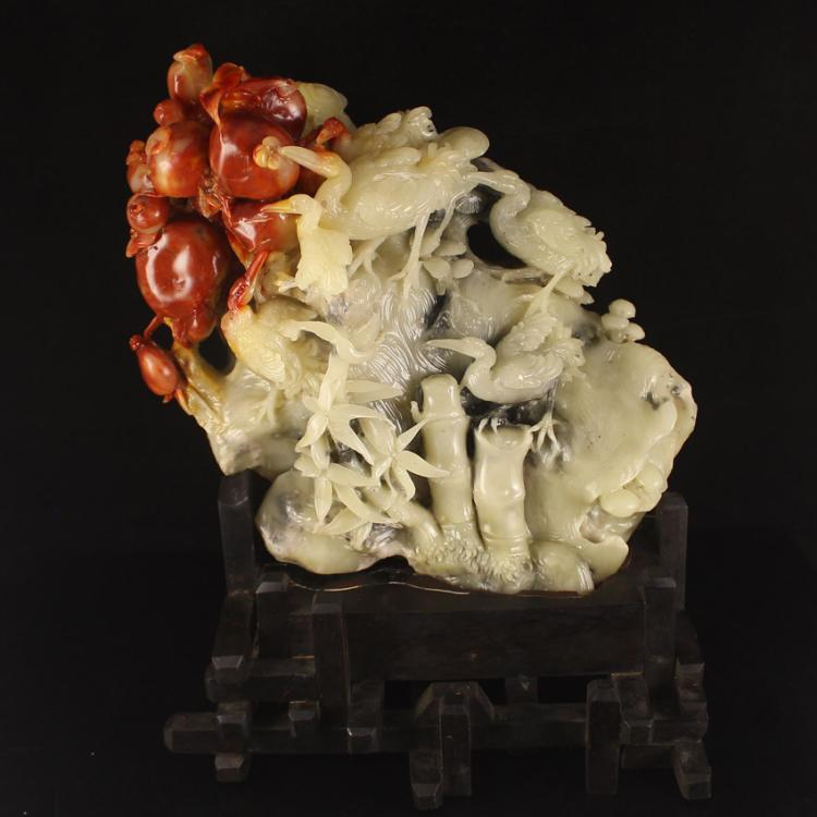 Chinese Natural Shoushan Stone Statue -  Crane & Pomegranates Free Certificate