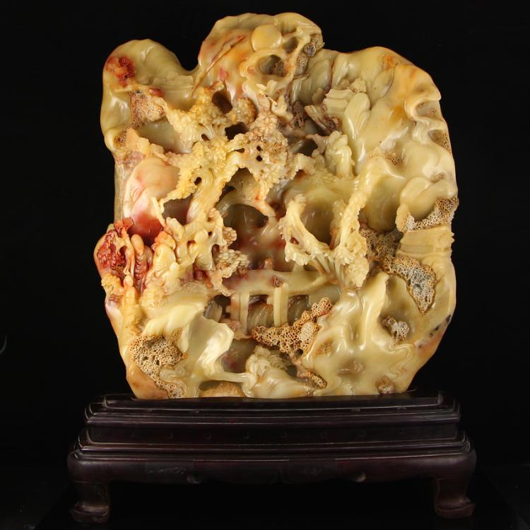 Chinese Natural Shoushan Stone Statue - Remote Mountains Sightseeing Free Certificate