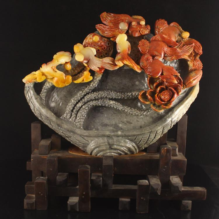 Chinese Natural Shoushan Stone Statue - Goldfish & Lotus Free Certificate