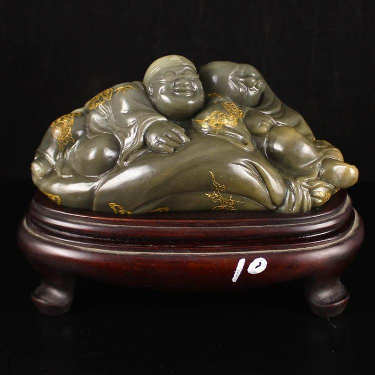 Chinese Natural Shoushan Stone Statue - Two Urchin Free Certificate