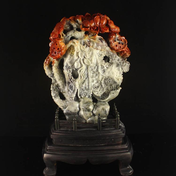 Superb Chinese Natural Shoushan Stone Statue w Magpie & Lotus