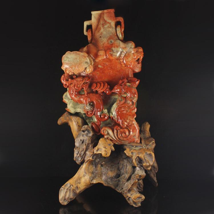 Superb Chinese Natural Shoushan Stone Statue - Dragon & Phoenix Free Certificate