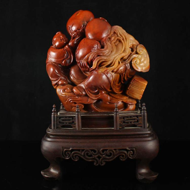 Chinese Natural Shoushan Stone Statue - Longevity Taoism Deity & Fortune Kids