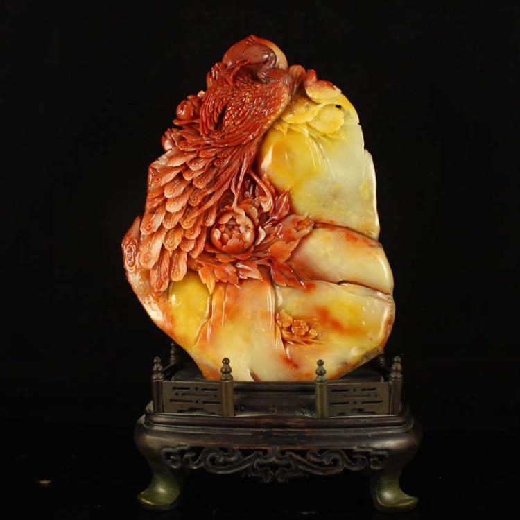 Superb Chinese Natural Shoushan Stone Statue - Phoenix & Peony