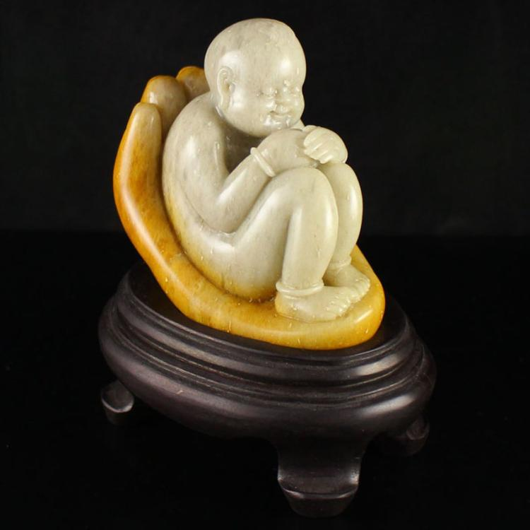 Chinese Natural Shoushan Stone Statue - Fortune Kid Free Certificate