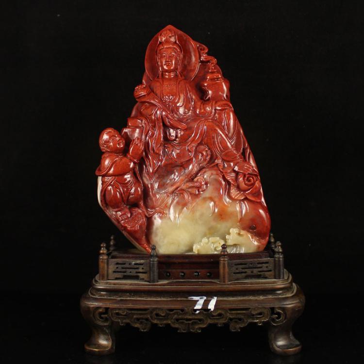 Chinese Natural Shoushan Stone Statue - Kwan-yin & Fortune Kids