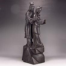Hand-carved Chinese Natural Ebony Statue - Ancient Love Story