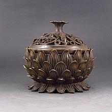 Chinese Hollow Out Carved Bronze Lotus Flower Incense Burner Statue