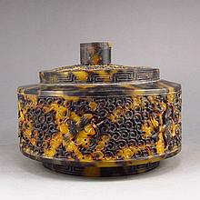 Fine Hand-carved Chinese Dai Mao Turtle Shell Tea Caddy