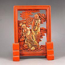 Genuine Chinese Cinnabar Red Ink Block For Ink Stone Statue w Man & Lotus Flower