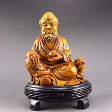 Superb Hand-carved Chinese Shoushan Stone Statue - Dharma & Fortune Beast