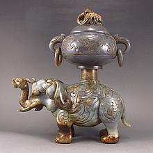 Vintage Hand Carved Chinese Natural Hetian Jade Elephant Incense Burner