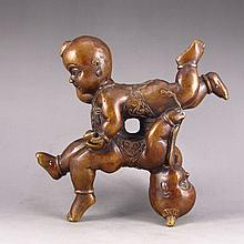 Lovely Chinese Brass Statue - Urchins
