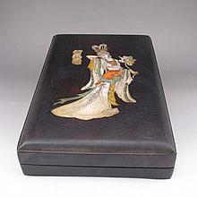 Hand-carved Chinese Duan Inkstone & Hard Wood Box inlaying Conch w Hexiangu Female Deity
