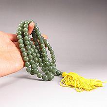 Beautiful Hand-carved Chinese Natural Green Hetian Jade 108 Prayer Beads