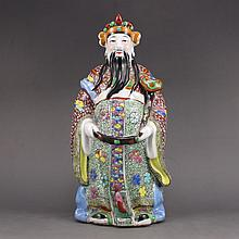 Chinese Guangdong Handmade Many Color Porcelain Statue - Fortune Taoism Deity
