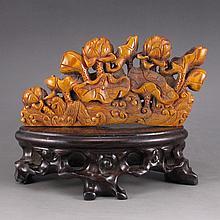 Vintage Hand Carved Chinese Deer Horn Statue - Lotus Flower