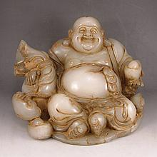 Vintage Big Hand Carved Chinese Natural White Hetian Jade Statue - Fortune Laughing Buddha