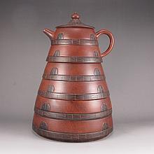Three Layers Handmade Chinese Yixing Zisha Clay Teapot Artist Signed