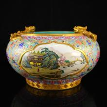 Chinese Gilt Gold Famille Rose Porcelain Double Dragons Fish Tank w Qianlong Mark