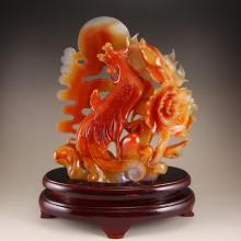 Beautiful Colour Chinese Natural Agate Statue - Phoenix & Peony w Certificate