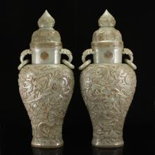 A Pair Chinese Qing Dy Hetian Jade Double Rings Nine Dragon Vases