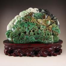 Chinese Dushan Jade Statue - Sages & Pine Tree