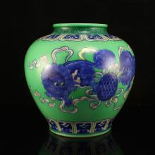 Chinese Qing Dynasty Green Ground Blue And White Porcelain Pot w Kangxi Mark
