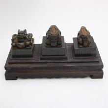 A Set Chinese Qing Dynasty Green Hetian Jade Lucky Dragons Seals w Zitan Wood Box