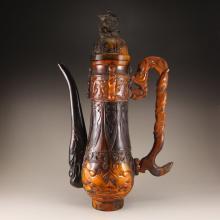 Chinese Qing Dynasty Ox Horn Dragon Phoenix Wine Pot w Qianlong Mark