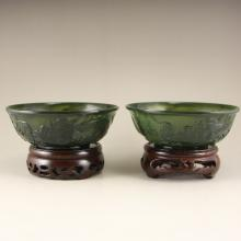 A Pair Chinese Green Hetian Jade Low Relief Bowls w Dragon & Fire Ball
