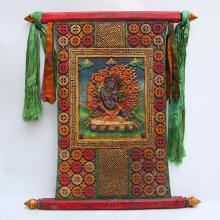 Vintage Chinese Tibet Colored Zitan Wood Inlay Jade Temple Tangka
