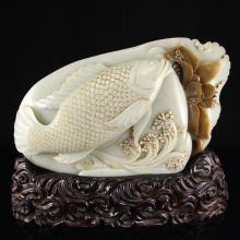 Chinese Qing Dynasty Hetian Jade Statue - Carp & Lotus Qianlong Mark