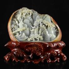 Superb Chinese Natural Hetian Jade Statue - Sages & Mountain