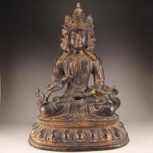 Chinese Ming Dynasty Gilt Gold Bronze Tara Statue