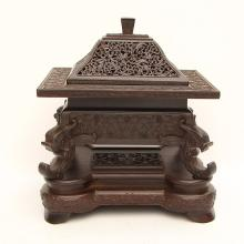 Chinese Qing Dynasty Openwork Zitan Wood Incense Burner