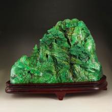 Chinese Dushan Jade Statue - Old Man & Kid