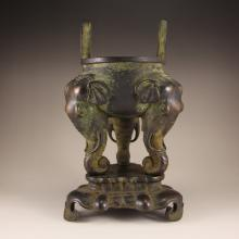 Chinese Ming Dynasty Red Copper Double Ears 3 Legs Elephant Heads Incense Burner